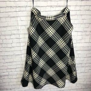 Black Ralph Lauren Plaid Wool Midi Skirt Size 6